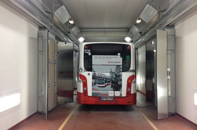 Spotrepair-Anlagen und Lackierkabinen für  Nutzfahrzeuge, LKW, Busse, Transporter-Lackierkabine Busse
